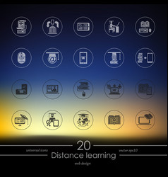 set of distance learning icons vector image vector image