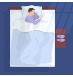 Sleeping man in bad at night near window vector image