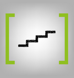 Stair up sign black scribble icon in vector