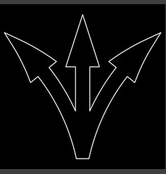 three way direction arrow white color path icon vector image
