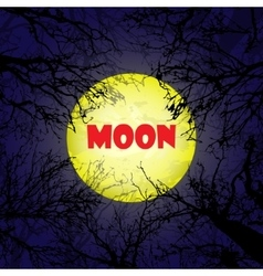 Yellow moon with dark trees vector image