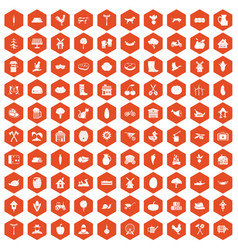 100 farm icons hexagon orange vector