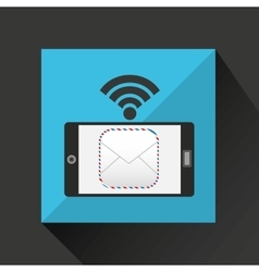 Smartphone mail envelope internet wifi icon vector