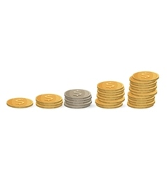 Coins ascending order isolated on white silver vector