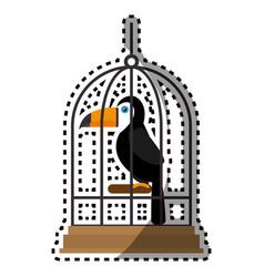 cute bird toucan in cage mascot vector image
