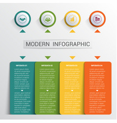 Infographics design template color buttons and 4 vector