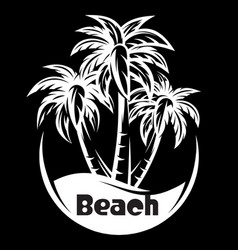 Palm tree and waves of a night beach vector