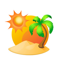 Island with palm tree and sun isolated on white vector