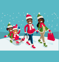 Winter family vacations isometric people black vector