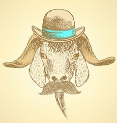 Sketch cute goat in hipster style vector