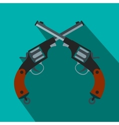 Crossed revolvers flat icon vector image