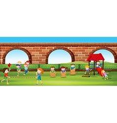 Children playing games in the park vector