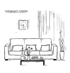 Home interior with couch and tablehand drawn color vector
