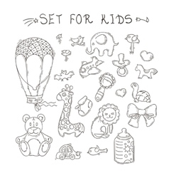 Set of funny doodle toys stickers vector