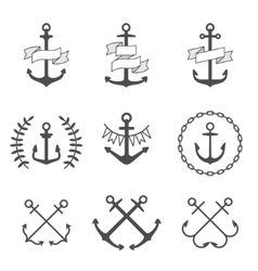 anchor icons and logos set vector image