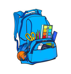 blue backpack packed with school items supplies vector image