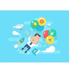 Business man fly with balloons concept startup vector