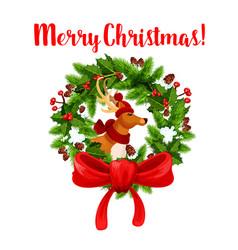 christmas decoration wreath greeting icon vector image