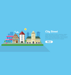 City street in sunny day flat banner vector