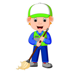cleaner man with cleaning equipments vector image