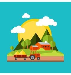 Color flat village landscapes vector image