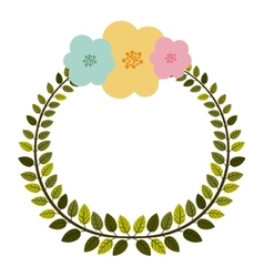 colorful arch of leaves with pastel flowers vector image