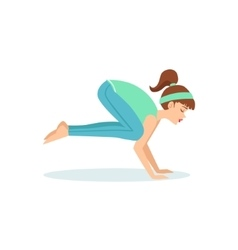 Crane bakasana yoga pose demonstrated by the girl vector