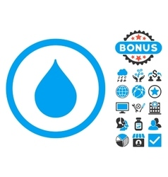 Drop Flat Icon with Bonus vector image