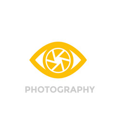 eye with aperture symbol photography logo vector image