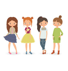 fashion stylish girls vector image vector image