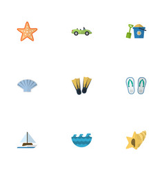 Flat icons sea car shell and other vector