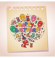 Happy Birthday cute kitten note paper cartoon vector image vector image