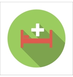 Hospital bed flat icon vector