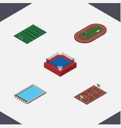 Isometric sport set of fighting b-ball run vector