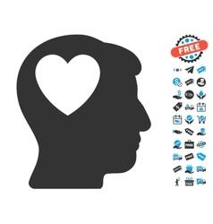 Love heart think icon with free bonus vector