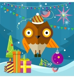 Owl with christmas ball on new year background vector