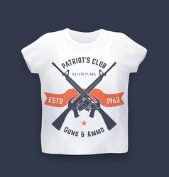 patriots club print with guns assault rifles vector image vector image