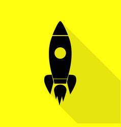 rocket sign black icon with flat vector image vector image
