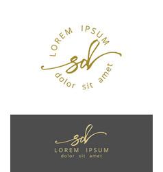 S d handdrawn brush monogram calligraphy logo vector