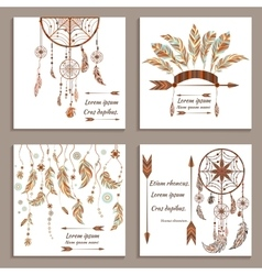 Set greeting cards ethnic style Dream Catcher vector image vector image