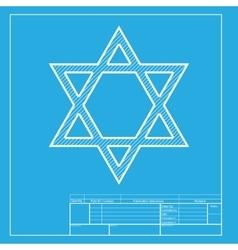 Shield magen david star symbol of israel white vector