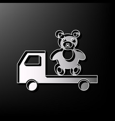 Truck with bear gray 3d printed icon on vector