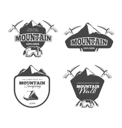 Vintage mountain camping mountaineering vector image vector image