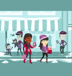 young multiracial people during christmas shopping vector image vector image