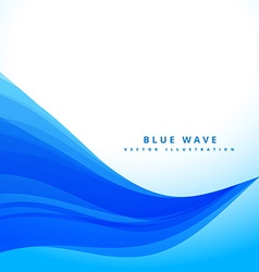 Blue wavy flowing lines background design vector