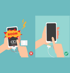 Do not play smart phone in charging battery vector