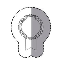 contour emblem with ribbon icon vector image