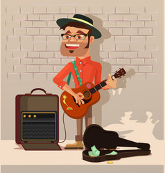 Street performer man character sing song vector