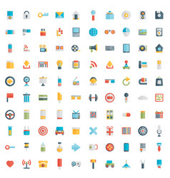 set of 100 social media icons flat design - part vector image