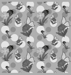 flowers and butterfly grayscale vector image